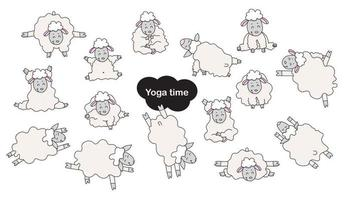 Yoga pets. Cute funny sheep athletes get up in an asana and are engaged in fitness, gymnastics and meditation, a hobby. Sheep yoga - a set of color flat pictures. Vector. Isolated on white background vector