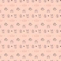 Seamless patterns. Yoga for farm animals. Playful cute sheep go in for sports, meditation and gymnastics. Vector illustration outline on a pink background. For textiles, wallpaper, kids collection