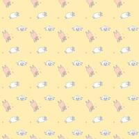 Seamless patterns. Yoga for pets. pink and white sheep are doing fitness and meditation, asanas. Vector illustration of stickers of farm animals on yellow background.For packaging, textiles, wallpaper