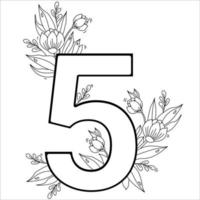 Flower number five. Decorative pattern 5 with flowers, tulips, buds and leaves. Vector illustration isolated on white background. Line, outline. For greeting cards, print, design and decoration