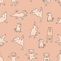 Seamless pattern. pets yoga. Dog yoga - cute puppies doing exercises and standing in asana. Vector on a Pink decorative background. For design, packaging, textiles and wallpaper