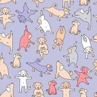 Seamless pattern. pets yoga. cute colorful puppies go in for sports, gymnastics and stand in an asana. Vector illustration on a purple background. Dog yoga. For design, packaging, textiles, wallpaper