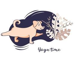 Yoga pets. The dog is an athlete engaged in fitness, stretches in an asana. Vector illustration on a decorative blue background with decor. concept - Yoga time and hobby. Flat design