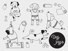 Yoga pets. cute puppies stand in an asana and go in for sports. Dog yoga - a set of pictures. Outline. Vector illustration