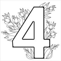 Flower number Four. Decorative pattern 4 with flowers, tulips, buds and leaves. Vector illustration isolated on white background. Line, outline. For greeting cards, print, design and decoration