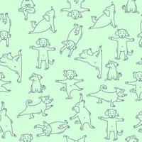 Seamless pattern. pets yoga. Dog yoga - cute puppies doing exercises and standing in asana. Vector outline on a light green background