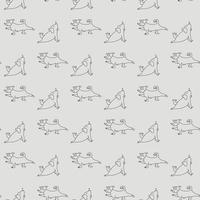 Seamless pattern. pets yoga. Dog yoga - funny puppy in asana, doing sports exercise, plank. Vector outline on a light gray background