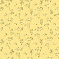 Seamless pattern. pets yoga. Vector. Dog yoga - cute animals go in for sports and stand in an asana. outline on a light Yellow decorative background