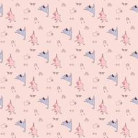 patrones sin fisuras. mascotas yoga. Los atletas de cachorros divertidos se dedican a la gimnasia y se paran en asanas. ilustración vectorial sobre un fondo rosa claro con mancuernas, cuerda y alfombra. perro yoga vector