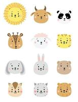 lindos retratos de animales simples. conjunto de retratos de animales en color: oveja, vaca, león y tigre, panda y ciervo, liebre y oso, perro y gato. para decoración infantil, estampación, textil. ilustración vectorial vector