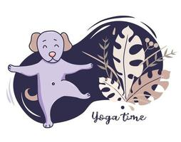 Yoga pets. cute dog goes in for sports and stretches, stands in an asana Raising a paw on a decorative blue background with tropical leaves And decor. Vector. Yoga hobby and time concept. Flat design vector