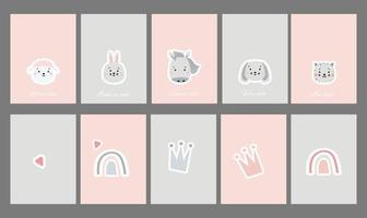 Kids cards collection. Set of postcards with cute pets and phrases. Creative print with of rainbow and crown, mammals - sheep and horse, hare and dog, cat. Vector for scandinavian design and printing