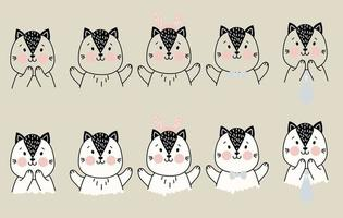 Set of cute simple pets. A cat with different gestures of delight and joy, and items of festive decor - Christmas deer antlers, a tie and bow tie. Vector. outline. color drawing. For childrens decor vector