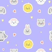 Seamless patterns. Kids collection. Cute animal stickers - lion, dog and rabbit, hare and sheep, cat and horse on a blue background with hearts. For design, textiles, packaging and wallpaper. Vector