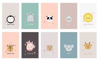 gift tags set Kids cards. Set of postcards with cute animals and phrases. Creative print featuring bear, unicorn and penguin, panda and cat, lion and deer, bull and koala. Vector. scandinavian design vector