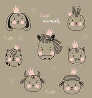 Cute animals. Cute simple portraits of pets in crowns - horse and rabbit, cat and dog, pig, sheep and bull. Outline drawing. kids collection. Vector for design, print and decoration. Scandinavian style