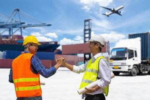 Foreman and businessman working together photo