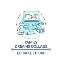 icono de concepto de collage de sueños familiares vector