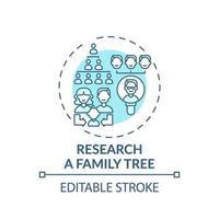 investigar un icono de concepto de árbol genealógico vector