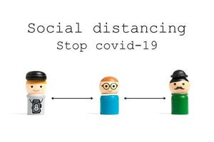 Stop COVID-19 social distancing text with miniature people on a white background, social distancing concept photo