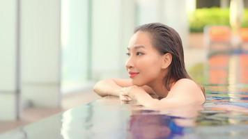Woman Leisure Around Outdoor Swimming Pool video