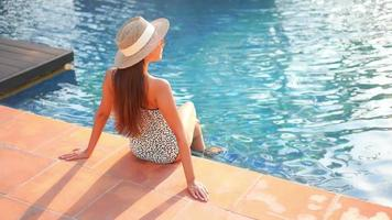 Woman Wear Straw Hat Sit the Edge of Pool video