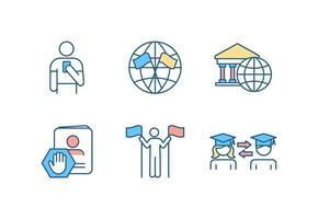 Conjunto de iconos de colores rgb de asuntos internacionales vector