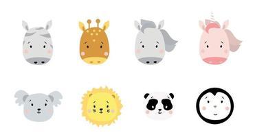 lindos retratos de animales simples. un conjunto de retratos de animales exóticos: cebra y jirafa, caballo y unicornio, koala y león, panda y pingüino. para decoración infantil, estampados, diseño y textiles. vector