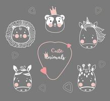 Cute animals. Cute simple portraits of tropical animals - unicorn, lion and panda wearing a crown, zebra and giraffe. Outline drawing. Vector. childrens collection, for design, printing and decoration vector