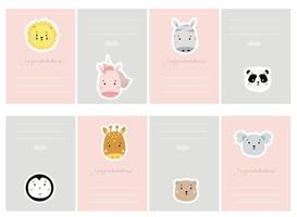 kid planner with cute animals. Set of greeting cards with cute animals. Creative print with lion and unicorn, giraffe and zebra, panda and koala, penguin and bear. Vector for scandinavian card design