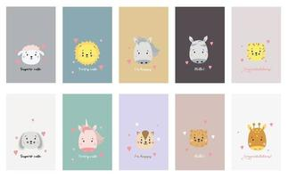 Set of cute animal faces. Creative animal print cheetah and lion, tiger and sheep, horse and unicorn, hare and cat, giraffe and zebra with dream lettering. Vector for Scandinavian card design, print