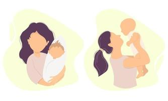 Motherhood. Happy woman and small child in her arms. Vector illustration. A set of characters. Concept - new life and happy mom and baby. flat illustration