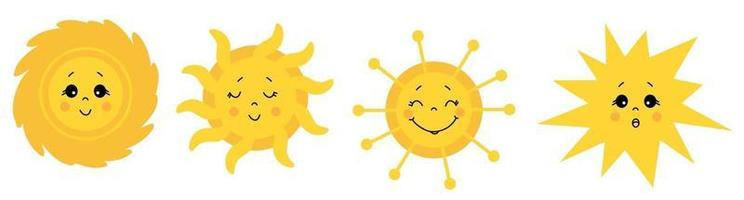 Cute Sun. Vector icon set. Drawings of the sun with different faces and emotions. Closed and open eyes. Vector . Isolated on white background