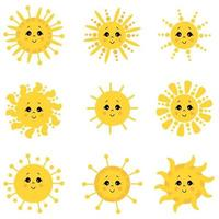 Cute Sun. Different Funny Suns with faces and eyes. Vector