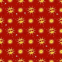 Seamless pattern. Cute yellow sun in sunglasses smiling. Cute little sun with eyes. Red background. Vector  for design, decor, packaging, printing, wallpaper, textile,