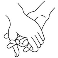 Female and male hand. The concept is tenderness, love and passion. Isolated on white. Woman and man holding hands. Linear hand drawing. outline. Vector illustration