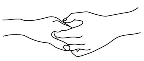 Hands. Gesture - Tenderness, love and passion. A mans hand gently holds a womans hand. vector