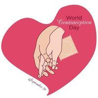 día de fiesta mundial de la anticoncepción. manos en un corazón rosa y protección. vector