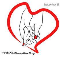 día de fiesta mundial de la anticoncepción. manos dentro del corazón. vector