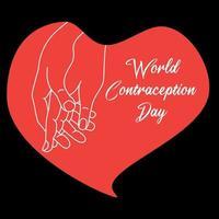 celebración del día mundial de la anticoncepción. manos en un corazón rojo sobre un fondo negro. vector
