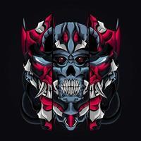 mecha skull artwork illustration vector