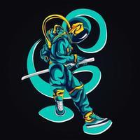ilustración de ilustraciones de lucha de espadas de astronauta vector