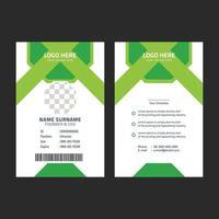 plantilla de tarjeta de identificación verde corporativa vector