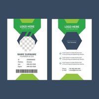 diseño de tarjeta de identificación verde y negro vector