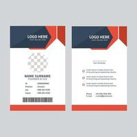 Corporate red id card template vector