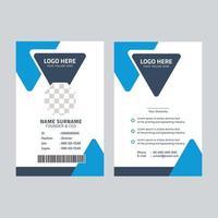 plantilla de tarjeta de identificación elegante con elementos azules vector