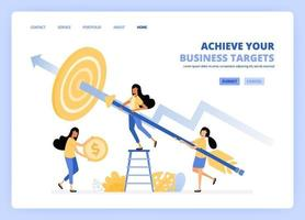 women aim at target with arrows. For a business achievement metaphor, woman holds a coin. Can be use for landing page template ui ux web mobile app poster banner website flyer ads vector