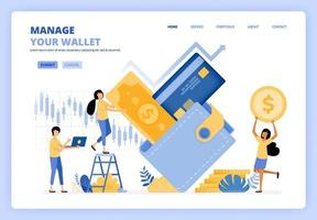People manage their wallets by planning expenses, banking debt, investing, purchasing, financial literacy. Can be use for landing page template ui ux web mobile app poster banner website flyer ads vector