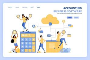 People access cloud accounting software with spreadsheets, risk calculators and financial banking tools. Can be use for landing page template ui ux web mobile app poster banner website flyer ads vector