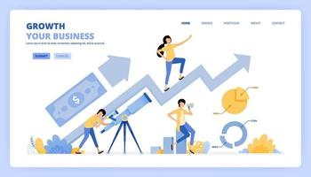 people seek money profit with telescopes. Grow your business with planning and research. growth the chart. Can be use for landing page template ui ux web mobile app poster banner website flyer ads vector